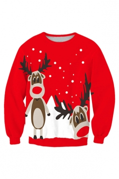 Womens Crew Neck Reindeer Printed Pullover Christmas Sweatshirt Red