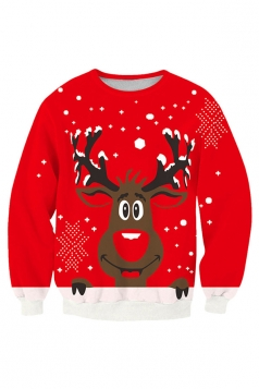 Womens Cute Reindeer Printed Pullover Christmas Sweatshirt Red