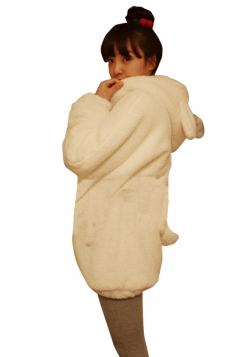 Womens Cute Hooded Long Sleeve Rabbit Sweatshirt White