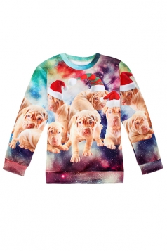 Womens Crew Neck Christmas Dogs Printed Pullover Sweatshirt Brown