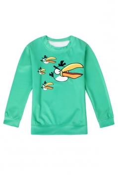 Womens Crewneck Long Sleeve Angry Bird Printed Sweatshirt Turquoise