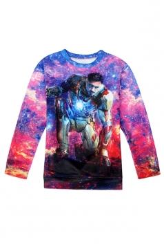 Womens Crewneck Long Sleeve Iron Man Printed Sweatshirt Purple