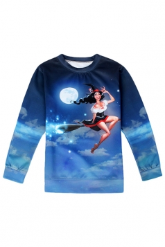 Womens Crewneck Long Sleeve Witch Printed Pullover Sweatshirt Blue