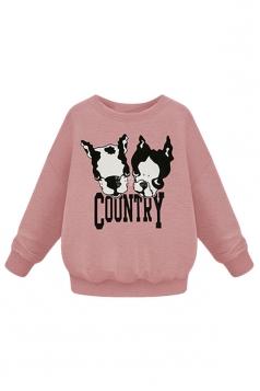 Womens Plus Size Dogs Printed Long Sleeve Sweatshirt Pink