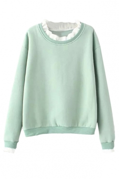 Womens Ruffle Collar Long Sleeve Sweatshirt Blue