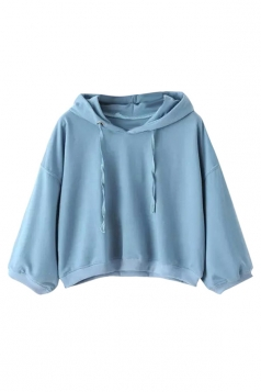 Womens Casual Hooded Short Pullover Sweatshirt Blue