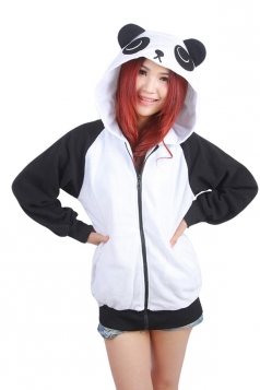 Womens Cute Panda Printed Zipper Front Long Sleeve Hoodie Black