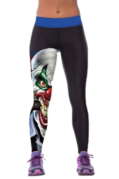 Womens Tight Evil Clown Printed Sport Leggings Black
