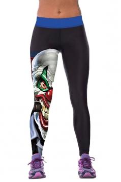 Womens Tight Evil Clown Printed Sport Leggings Black