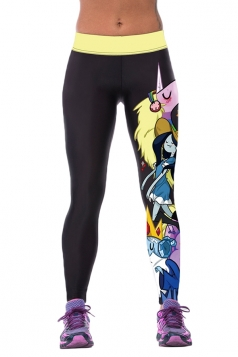 Womens Tight Cartoon Printed Sport Leggings Black