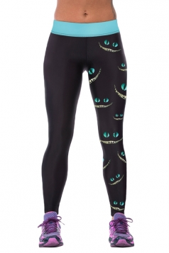 Womens Tight Cheshire Cat Printed Sport Leggings Black