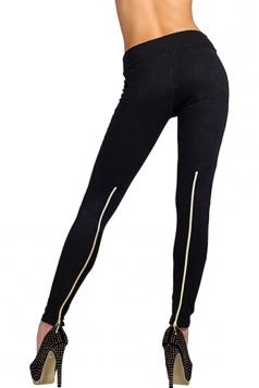 Womens High Waisted Zipper Back Leggings Black