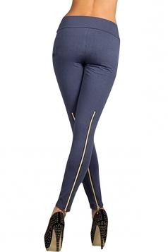 Womens High Waisted Zipper Back Leggings Gray