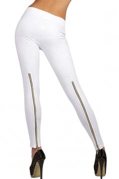 Womens High Waisted Zipper Back Leggings White