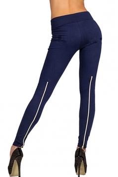 Womens High Waisted Zipper Back Leggings Navy Blue