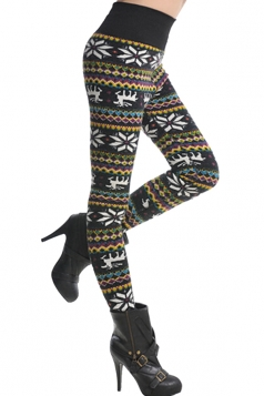 Womens Snowflake Pattern Stripe Lined Warm Leggings Yellow