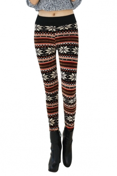 Womens Lined Snowflake Patterned High Waist Leggings Brown