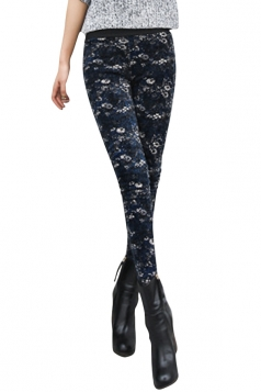 Womens Lined Patterned High Waisted Leggings Navy Blue