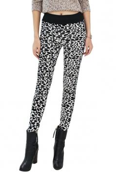 Womens Lined Leopard Patterned High Waist Leggings White