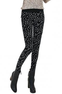 Womens Lined Little Stars Patterned High Waist Leggings Black