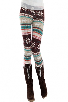 Womens Snowflake and Reindeer Patterned Christmas Leggings Pink