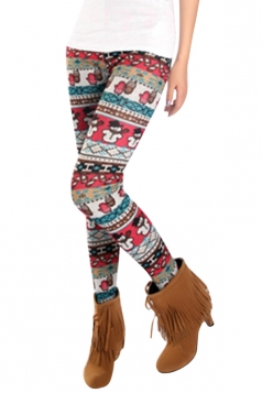 Womens Slimming Snowman Patterned Christmas Leggings Rose Red