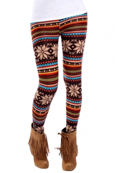 Womens Slimming Snowflake Patterned Christmas Leggings Brown