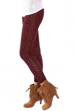 Womens Slimming Stars Patterned Leggings Ruby