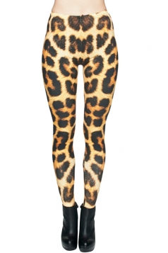 Womens Pretty High Waist Leopard Printed Leggings Brown