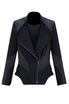 Womens Slimming Turndown Collar Zipper Design PU Leather Jacket Black