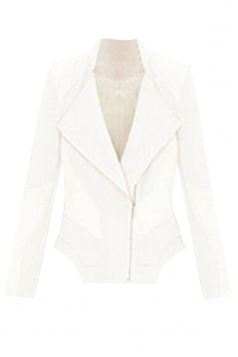 Womens Slimming Turndown Collar Zipper Design PU Leather Jacket White