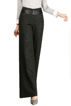 Womens Elegant Plus Size Palazzo Leisure Pants Black