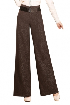 Womens Elegant Plus Size Palazzo Leisure Pants Coffee