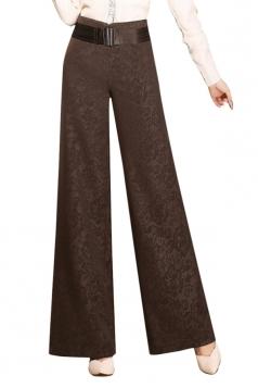 Womens Elegant Plus Size Palazzo Leisure Pants Coffee