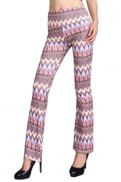 Womens Slimming High Waist Exotic Printed Palazzo Leisure Pants Khaki