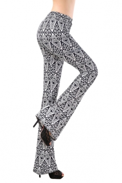 Womens High Waist Exotic Printed Palazzo Leisure Pants White