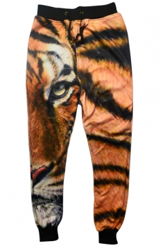 Womens Tiger Printed Leisure Sweatpants Brown