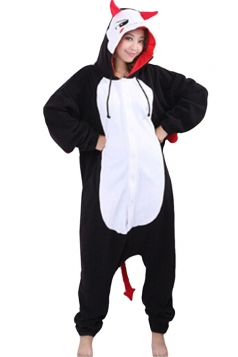 Womens Hooded Evil Pajamas Onesies Animal Costume Black