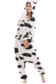 Womens Hooded Cow Pajamas Onesies Animal Costume White