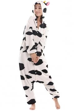 Womens Hooded Cow Pajamas Onesies Animal Costume White