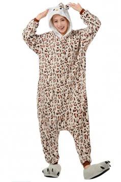Womens Hooded Kitty Pajamas Onesies Animal Costume Chestnut
