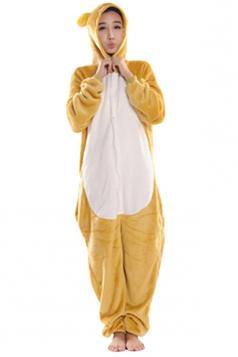 Womens Hooded Bear Pajamas Onesies Animal Costume Yellow