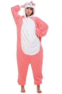 Womens Hooded Hello Kitty Pajamas Onesies Animal Costume Pink