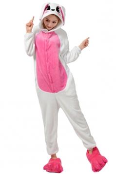 Womens Hooded Rabbit Pajamas Onesies Animal Costume Rose Red