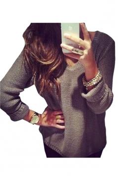 Womens Casual Retro V Neck Long Sleeve Sweater Coffee