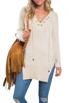 Womens Casual Long Sleeve Lace Up Side Slit Sweater Beige White