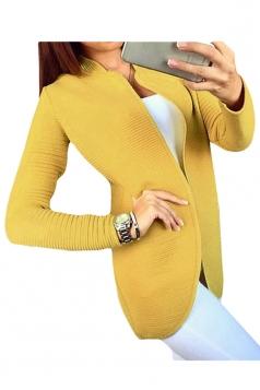 Womens Long Sleeve Cardigan Sweater Yellow