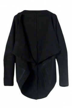 Womens Chic Long Sleeve Pockets Cardigan Sweater Black