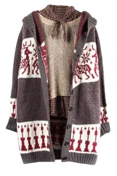 Womens Reindeer Patterned Hooded Cardigan Sweater Coat Gray