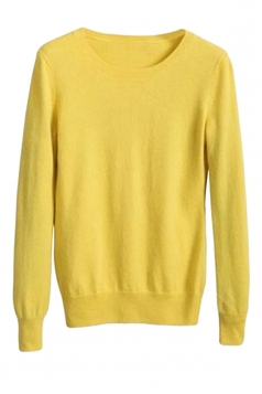 Womens Crewneck Long Sleeve Pullover Sweater Yellow